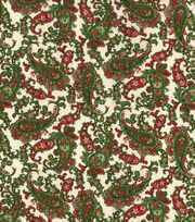 Maker's Holiday Osnaburg Cotton Print Fabric 44''-Green & Red Paisley, , hi-res