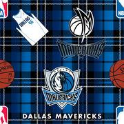 Dallas Mavericks NBA Plaid Fleece Fabric, , hi-res