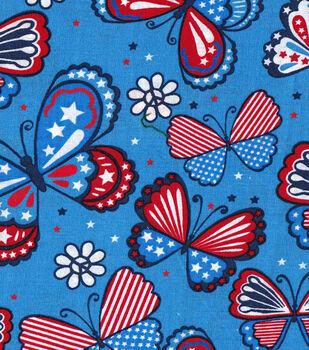 Patriotic Fabric-Flower Power Butterflies Light Blue