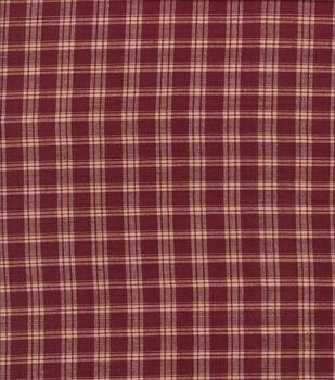 Homespun Cotton Fabric-Med Plaid Burgudy