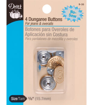 Dritz No-Sew Dungaree Buttons 4pcs
