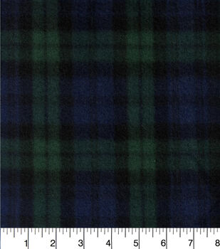 Blizzard Fleece Fabric-Navy And Green Plaid