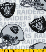Oakland Raiders NFL White Fleece Fabric by Fabric Traditions, , hi-res