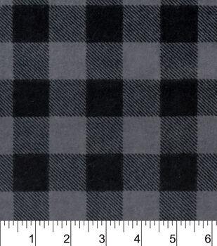 Snuggle Flannel Fabric-Black Grey Buffalo Check
