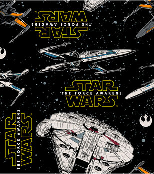 Star Wars VII Heroes Ships Fleece Fabric