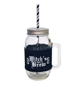 Glass Jar Burlap Band 24 oz Witchs Brew
