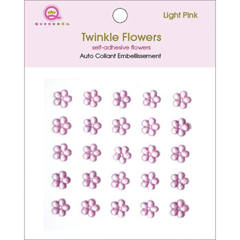 Queen & Co Twinkle Self-Adhesive Embellishments Flowers