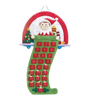 "Elf On The Shelf Scout Elf Advent Calendar Felt Applique Kit-18""X24"""