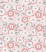 Nursery Fabric Baby Basic Floral Pink & Gray & White, , hi-res