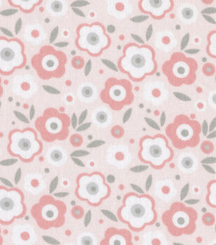 Nursery Fabric Baby Basic Floral Pink & Gray & White