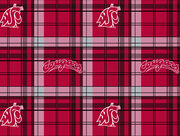 Washington State University NCAA Plaid Fleece Fabric, , hi-res