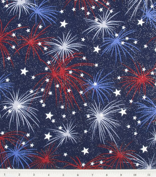 Holiday Inspirations Fabric-Fireworks With Stars Glitter