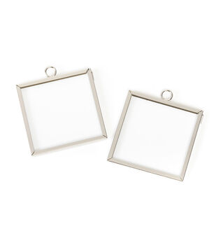 Mini-Frame Charm, Square, Silver, 2 x 2 inches, 2pcs/pkg