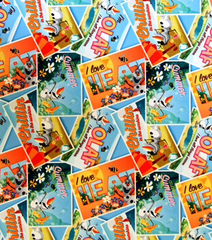 Disney Frozen Olaf Postcard Toss Twill Fabric