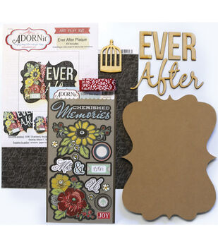 Adorn-It Art Play Ever After MDF Word Plaque With Words Kit