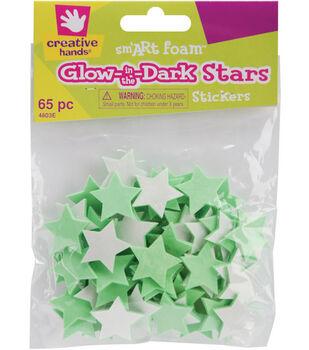 Fibre Craft Foam Stickers-65PK/Glow-In-The-Dark Stars