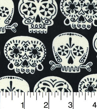 Halloween Cotton Fabric-Floral Skulls Glow