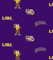 Louisiana State University NCAA Herringbone Cotton Fabric, , hi-res