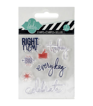 "Heidi Swapp Mixed Media Clear Mini Stamps 3""X3.5""-Right Now"
