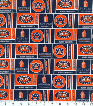 Auburn NCAA Herringbone Cotton Fabric