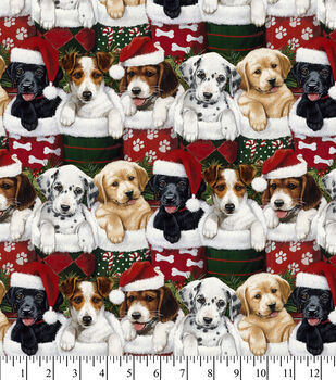 Christmas Cotton Fabric-Puppies In Stockings