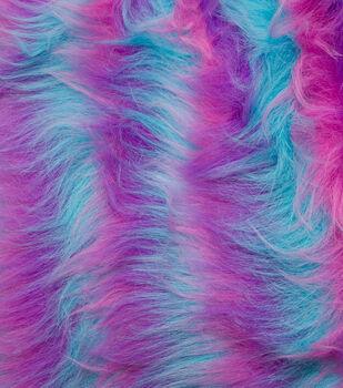 Fashion Faux Fur Fabric-Blue Purple Pink