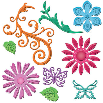 Spellbinders Shapeabilities Dies-Jewel Flowers&Flourishes