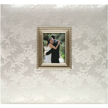 MBI Postbound Album Floral Fabric With Metal Frame Wedding