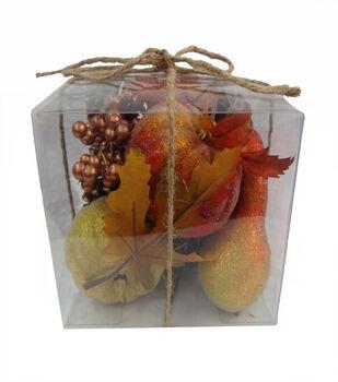 Blooming Autumn Sugar Coating Pumpkin, Pinecone, Berries  & Gourd In Box