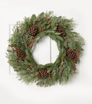 Blooming Holiday 28'' Pinecone & Frosted Berry Wreath-Red, , hi-res