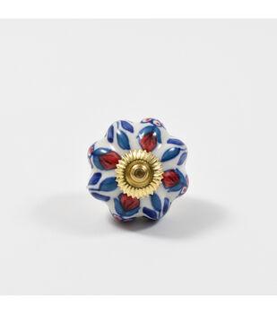 Dritz Home Ceramic Persian Floral Scallop Knob-Multi