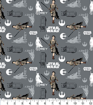 Character Cotton Star Wars Cotton Fabric - Rey In Iron