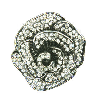 Laliberi Rhinestone Rose Petal Silver Pin