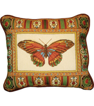 """14""""x17"""" Needlepoint Kit-Butterfly With Mosaic Border"""