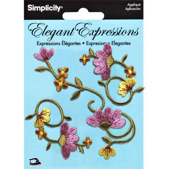 Elegant Expressions Embroidery Iron On Vine Appliques, 3 pcs