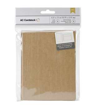 American Crafts A2 Cards & Envelopes Kraft Woodgrain Embossed Design