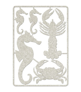 Die-Cut Gray Chipboard embellishments-Seahorses, Lobster & Crab