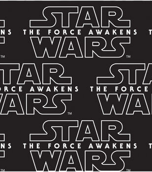 Star Wars VII Logo Black Cotton Fabric