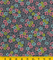 Made In America Cotton Fabric-Floral Pattern Black, , hi-res