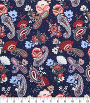 Keepsake Calico Cotton Fabric-Paisley Navy, , hi-res