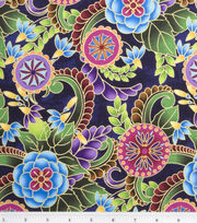 Legacy Studio Cotton Fabric-Polynesia Master Medallion Floral Blue, , hi-res