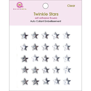 Queen & Co Twinkle Self-Adhesive Embellishments Stars