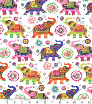 Snuggle Flannel Fabric-Patterned Elephants