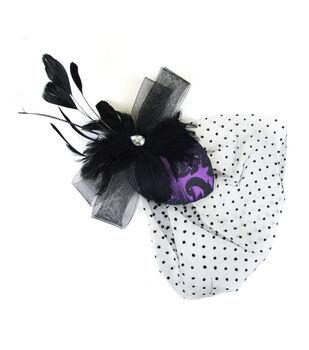 Maker's Halloween Brocade Teardrop Clip With Veil-Black & Purple