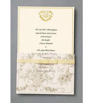 Wilton® 25ct Wedding Toile Invitation Kit-Gold
