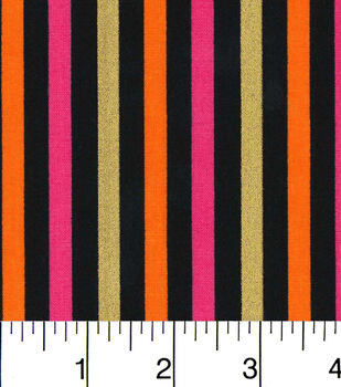 Halloween Cotton Fabric-Halloween Stripes Pink And Orange