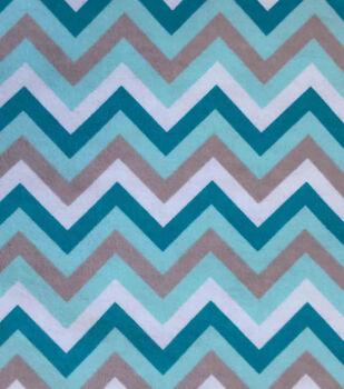 Snuggle Flannel Fabric-Chevron Aqua Sky
