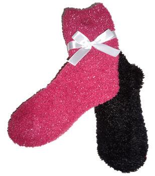 Sparkle Dark Pink & Black Feather Sock
