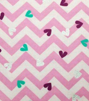 Fashion Flannel Zig Zag Heart Glitter Fabric