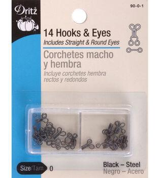 Dritz Hooks &Eyes 14pcs Black Size 2